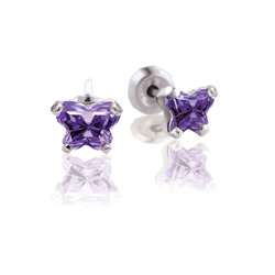 Teeny Tiny Butterfly Earrings for Baby Girls by Bfly® - February Amethyst Cubic Zirconia (CZ) Birthstone - Sterling Silver Rhodium Kids Earrings with Push on Safety Backs/