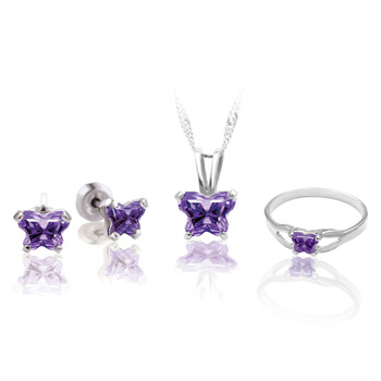 Teeny Tiny Butterfly Necklace, Earring, and Ring Set for Girls by Bfly® - February Amethyst Cubic Zirconia (CZ) Birthstone - Sterling Silver Rhodium Girls Jewelry - 3 Item Set - Save $12.50