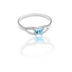 Teeny Tiny Butterfly Ring for Girls by Bfly® - March Aquamarine Cubic Zirconia (CZ) Birthstone - Sterling Silver Rhodium Child Ring - Size 3/