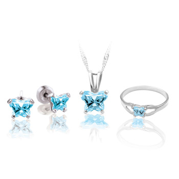 Teeny Tiny Butterfly Necklace, Earring, and Ring Set for Girls by Bfly® - March Aquamarine Cubic Zirconia (CZ) Birthstone - Sterling Silver Rhodium Girls Jewelry - 3 Item Set - Save $12.50