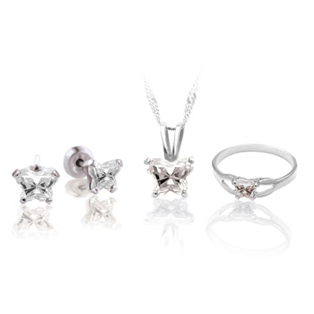 Teeny Tiny Butterfly Necklace, Earring, and Ring Set for Girls by Bfly® - April Diamond Cubic Zirconia (CZ) Birthstone - Sterling Silver Rhodium Girls Jewelry - 3 Item Set - Save $12.50