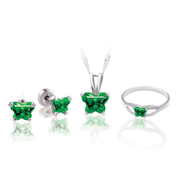 Teeny Tiny Butterfly Necklace, Earring, and Ring Set for Girls by Bfly® - May Emerald Cubic Zirconia (CZ) Birthstone - Sterling Silver Rhodium Girls Jewelry - 3 Item Set - Save $12.50