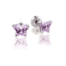 Teeny Tiny Butterfly Earrings for Baby Girls by Bfly® - June Alexandrite Cubic Zirconia (CZ) Birthstone - Sterling Silver Rhodium Kids Earrings with Push on Safety Backs/