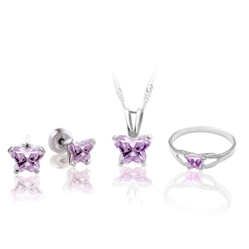Teeny Tiny Butterfly Necklace, Earring, and Ring Set for Girls by Bfly® - June Alexandrite Cubic Zirconia (CZ) Birthstone - Sterling Silver Rhodium Girls Jewelry - 3 Item Set - Save $12.50