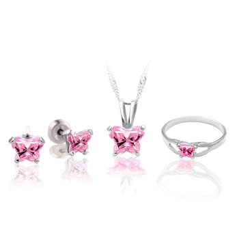 Teeny Tiny Butterfly Necklace, Earring, and Size 4 Ring Set for Girls by Bfly® - October Cubic Zirconia (CZ) Birthstone - Sterling Silver Rhodium Girls Jewelry - 3 Item Set - Save $12.50