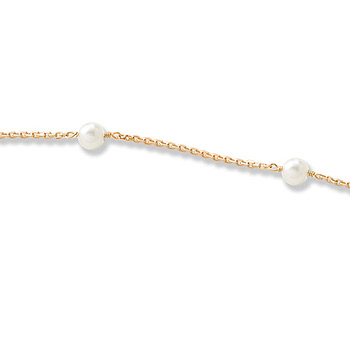 "Beautifully Elegant Little Girl's Pearl Station Bracelet - 3mm Freshwater Cultured Pearls - 14K Yellow Gold - 6.25"" - BEST SELLER"