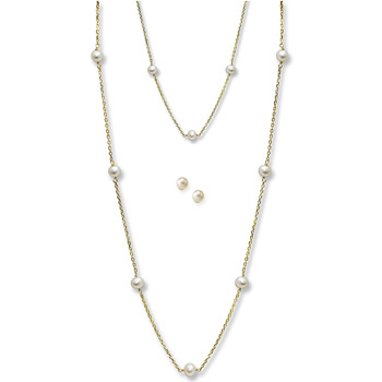 Little Girls Pearl Station Bracelet, Station Necklace, and Earring Set - Freshwater Cultured Pearl 14K Yellow Gold - 3 Item Set - Save $20 with this set