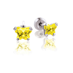 Teeny Tiny Butterfly Earrings for Baby Girls by Bfly® - November Citrine Cubic Zirconia (CZ) Birthstone - Sterling Silver Rhodium Kids Earrings with Push on Safety Backs/