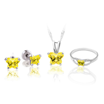Teeny Tiny Butterfly Necklace, Earring, and Ring Set for Girls by Bfly® - November Citrine Cubic Zirconia (CZ) Birthstone - Sterling Silver Rhodium Girls Jewelry - 3 Item Set - Save $12.50