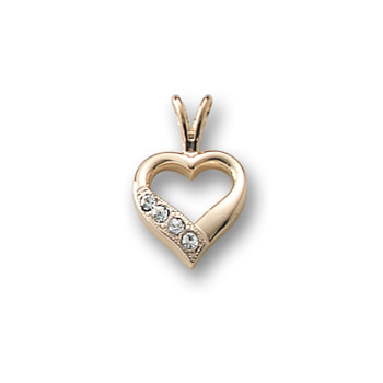 "Little Girls Diamond Heart Necklace - 14K Yellow Gold - 15"" chain included"