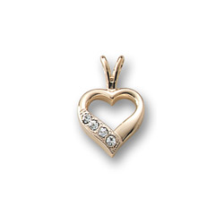 Little Girls Diamond Heart Necklace - 14K Yellow Gold - 15