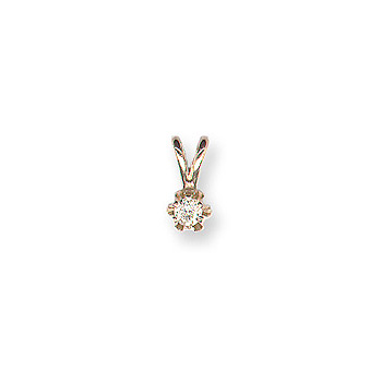 "Little Girls Diamond Solitaire Necklace - 14K Yellow Gold - 15"" chain included - BEST SELLER"