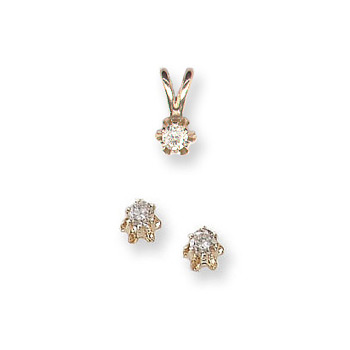 Little Girls Diamond Solitaire Necklace and Diamond Earring Set - 14K Yellow Gold - 2 Item Set - Save $10 with this set - BEST SELLER