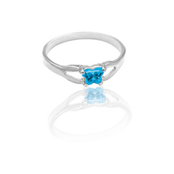 Teeny Tiny Butterfly Ring for Girls by Bfly® - December Blue Topaz Cubic Zirconia (CZ) Birthstone - Sterling Silver Rhodium Child Ring - Size 3/