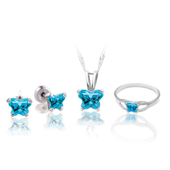 Teeny Tiny Butterfly Necklace, Earring, and Size 4 Ring Set for Girls by Bfly® - December Blue Topaz Cubic Zirconia (CZ) Birthstone - Sterling Silver Rhodium Girls Jewelry - 3 Item Set - Save $12.50