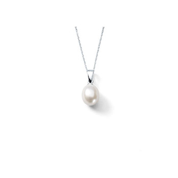 "Elegant Teardrop Freshwater Cultured Pearl Necklace by Bridal Party Gifts™ - Sterling Silver Rhodium - Includes 18"" Chain - Buy 5 Get 1 Free - BEST SELLER"