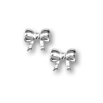 Silver Bow Earrings for Girls - Sterling Silver Rhodium Screw Back Earrings for Baby, Toddler, Child - BEST SELLER