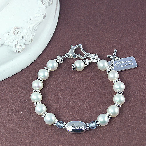 Sophisticated Baby™ by My First Pearls® – Grow-With-Me® designer original freshwater cultured pearl bracelet – Personalize with gemstones & charms