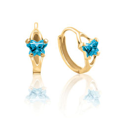 Baby 14K Yellow Gold December Blue Topaz (Cubic Zirconia) C.Z. Tiny Butterfly Huggie Hoop Earrings/