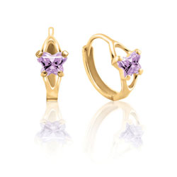Baby 10K Yellow Gold June Alexandrite (Cubic Zirconia) C.Z. Tiny Butterfly Huggie Hoop Earrings/