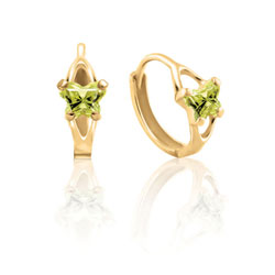 Baby 10K Yellow Gold August Peridot (Cubic Zirconia) C.Z. Tiny Butterfly Huggie Hoop Earrings/