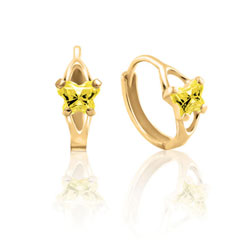 Baby 10K Yellow Gold November Citrine (Cubic Zirconia) C.Z. Tiny Butterfly Huggie Hoop Earrings/