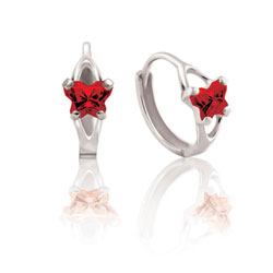 Baby 14K White Gold January Garnet (Cubic Zirconia) C.Z. Tiny Butterfly Huggie Hoop Earrings/