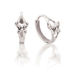 Baby 14K White Gold April Diamond (Cubic Zirconia) C.Z. Tiny Butterfly Huggie Hoop Earrings/