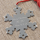 Silver Snowflake Personalized Ornament - Engravable on front and back - BEST SELLER