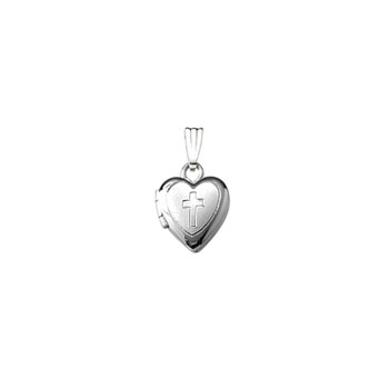 "Religious Lockets to Love - Sterling Silver Rhodium 9mm Tiny Cross Heart Locket - 13"" chain included"