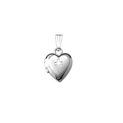 Religious Lockets to Love - 14K White Gold 9mm Cross Heart Locket - Engravable on back - 13