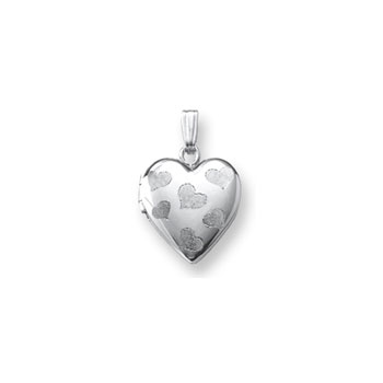 "Adorable Little Girls Heart Locket to Love - 14K White Gold 13mm Heart Locket - Engravable on back - 15"" Chain Included - BEST SELLER"