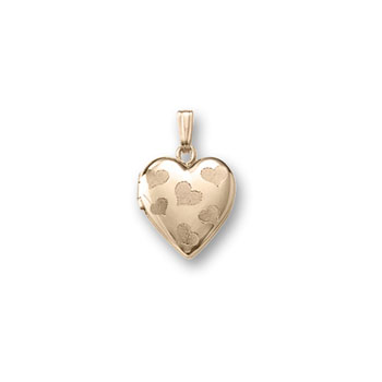 "Adorable Little Girls Heart Locket to Love - 14K Yellow Gold 13mm Heart Locket - Engravable on back - 15"" Chain Included"