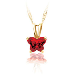 Teeny Tiny Butterfly Necklace for Girls by Bfly® - January Garnet Cubic Zirconia (CZ) Birthstone - 14K Yellow Gold Child Necklace - Includes a 14