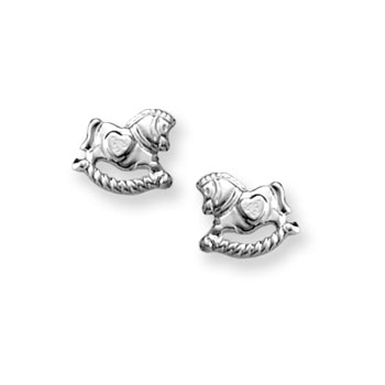 Silver Rocking Horse Earrings for Girls - Sterling Silver Rhodium Screw Back Earrings for Baby, Toddler, Child