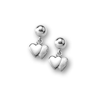 Double Heart Dangle Earrings for Girls - Sterling Silver Rhodium Screw Back Earrings for Baby Girls