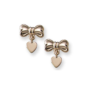 Heart Bow Dangle Earrings for Girls - 14K Yellow Gold Screw Back Earrings for Baby Girls