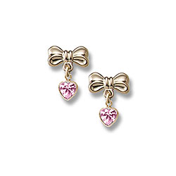 Heart Bow Dangle Earrings for Girls - 14K Yellow Gold September Pink Sapphire (Cubic Zirconia) C.Z. Screw Back Earrings for Baby Girls/
