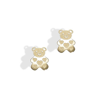 Gold Teddy Bear with Embossed Hearts Earrings for Girls - 14K Yellow Gold Screw Back Earrings for Baby, Toddler, Child