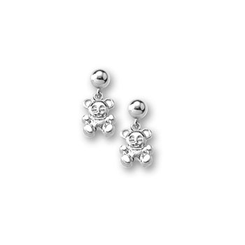 Silver Teddy Bear Dangle Earrings for Girls - Sterling Silver Rhodium Screw Back Girls Earrings