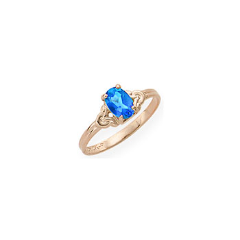 Kid's Birthstone Rings for Girls - 14K Yellow Gold Girls Genuine Blue Sapphire September Birthstone Ring - Size 4 1/2 - Perfect for Grade School Girls, Tweens, or Teens - BEST SELLER