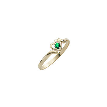 Toddler Birthstone Rings - 14K Yellow Gold Girls May Emerald Birthstone Ring - Size 3½ - Perfect for Toddlers and Grade School Girls - BEST SELLER