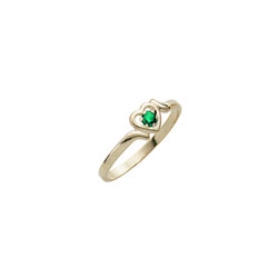 Toddler Birthstone Rings - 14K Yellow Gold Girls May Emerald Birthstone Ring - Size 3½ - Perfect for Toddlers and Grade School Girls - BEST SELLER/