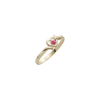 Toddler Birthstone Rings - 14K Yellow Gold Girls October Pink Tourmaline Birthstone Ring - Size 3½ - Perfect for Toddlers and Grade School Girls - BEST SELLER