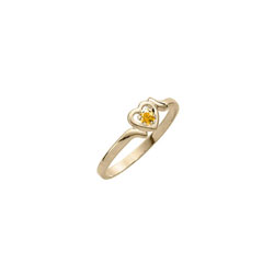Toddler Birthstone Rings - 14K Yellow Gold Girls November Citrine Birthstone Ring - Size 3½ - Perfect for Toddlers and Grade School Girls - BEST SELLER/
