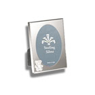 For My Most Cherished Moments™ - Engravable Sterling Silver Rectangular Picture Frame with Oval Window and Teddy Bear - 2 1/2