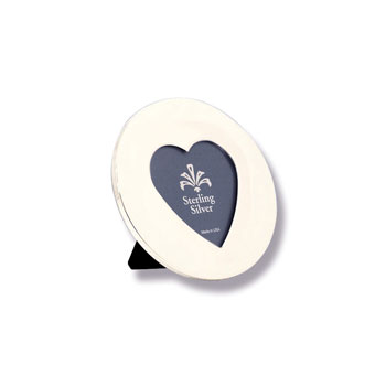 "For My Most Cherished Moments™ - Engravable Sterling Silver Round Picture Frame with a Heart-Shaped Window - 3 3/4"" diameter"