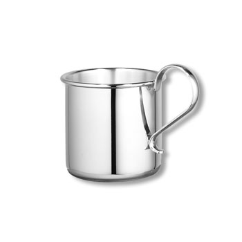 "Heirloom Baby Gifts - Heirloom Quality Heavy Gauge Engravable Sterling Silver Baby Cup with Plain Handle - Personalize the front and back - 2 1/4"" Tall"