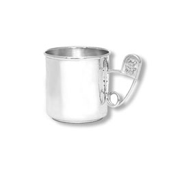 Heirloom Baby Gifts - Heirloom Quality Heavy Gauge Engravable Sterling Silver Baby Cup with Silver Diaper Pin Handle - Personalize the front and back - 2