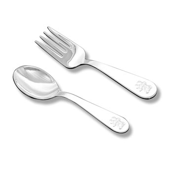 Best Baby Shower Gifts - Baby's First Spoon and Fork Set - Engravable Sterling Silver Baby Spoon and Fork Set each with an Embossed Teddy Bear on Handle by My First Gifts™ - 2 Item Set - BEST SELLER